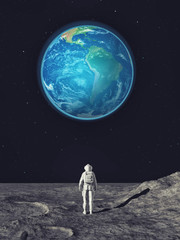 Wall Murals Nasa Astronaut in the city background looking to the moon.