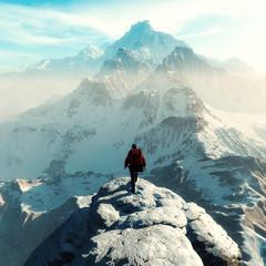 Conceptual image of a man hiker