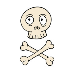 Doodle cartoon skull and crossbones. Pirate sign and symbol. Hand-drawn design element for danger or poison. Jolly roger.