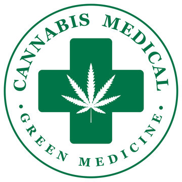 Vector banner for Medical cannabis with hemp leaf and and medical cross isolated on white background. Natural product of green medicine from organic hemp. Medical cannabis logo