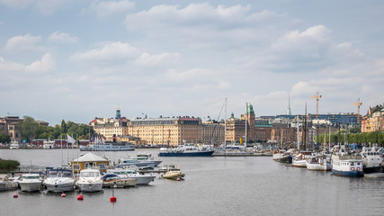 Boats on the river in old part of Stockholm, 2 august 2018 Sweden