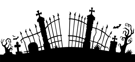 Photo sur Plexiglas Enfants Cemetery gate silhouette theme 1