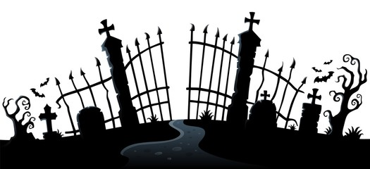Photo sur Plexiglas Enfants Cemetery gate silhouette theme 2