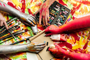 Сolor hands. Great paints for pictures and for creative people. Different ways of using paints. Have fun drawing. Not stopping imagination. Art in all around. Opposite each other in inspiration