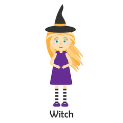 Witch in cartoon style, halloween card for kid, preschool activity for children, vector illustration