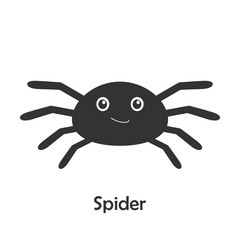 Spider in cartoon style, halloween card for kid, preschool activity for children, vector illustration
