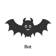 Bat in cartoon style, halloween card for kid, preschool activity for children, vector illustration