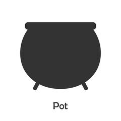 Pot in cartoon style, halloween card for kid, preschool activity for children, vector illustration