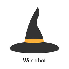 Witch hat in cartoon style, halloween card for kid, preschool activity for children, vector illustration