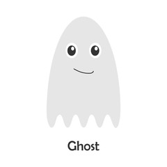 Ghost in cartoon style, halloween card for kid, preschool activity for children, vector illustration