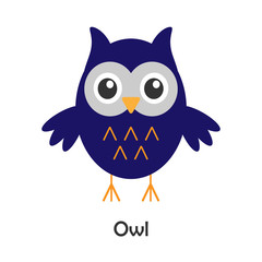 Owl in cartoon style, halloween card for kid, preschool activity for children, vector illustration