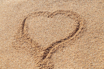 image of a heart on the beach sand