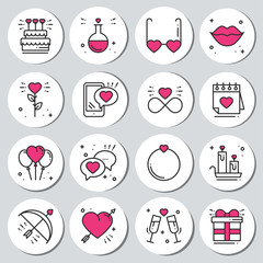 St Valentine's day round printable stickers set. Romantic labels badges. Decorative element. Love signs and symbols. Love, couple, relationship, dating, wedding, holiday, romantic, amour theme.