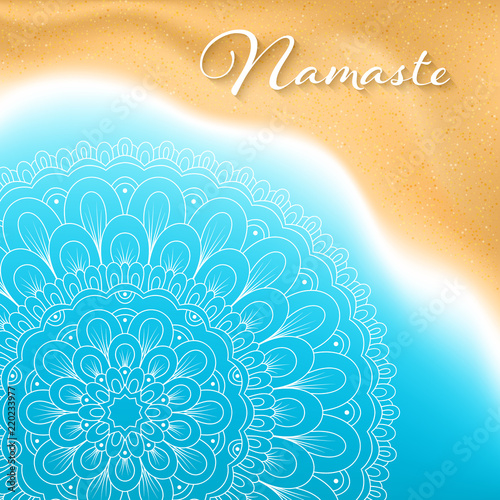 Flyer Or Brochure Template With Hand Drawn Mandala Pattern On Seashore Background Yoga Classes Banner
