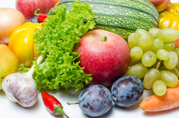 Fruits and vegetables on white background.Vitamins are healthy food.