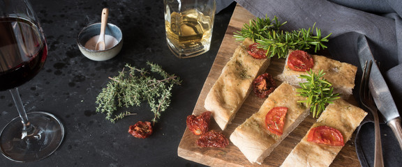 Italian focaccia with ingredients