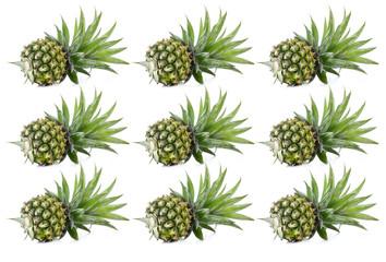 Set Raw fresh pineapples, isolated on white background.