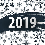 2019 happy new year background with snowflakes for your seasonal flyers and greetings card or christmas