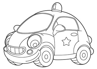 cartoon scene with vector police car - coloring page - illustration for children