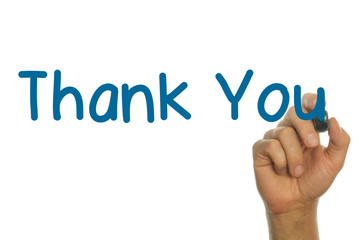 hand writing the word Thank You in blue handwritten letters