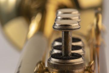 Musical instrument trumpet in detail.