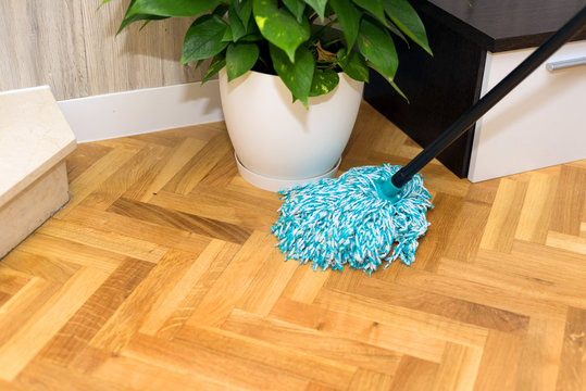 cleaning floor at home
