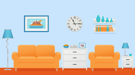 Living room interior. Vector. Lounge with furniture. Home background in flat design. Cartoon house equipment in modern apartment. Colorful animated illustration parlor with orange sofa and armchair.