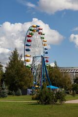 Ferris wheel in the city amusement park