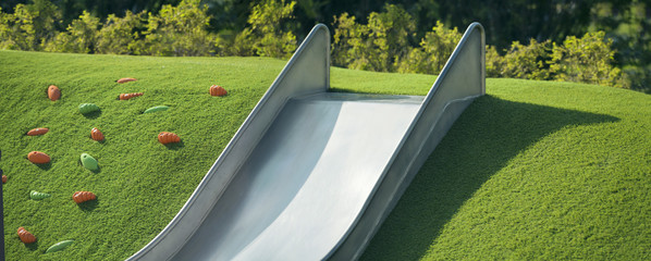 metal slide at the playground
