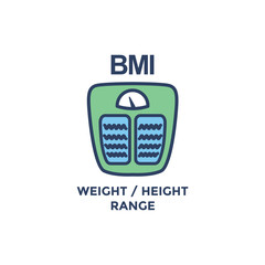 BMI - Body Mass Index Icon with weight scale