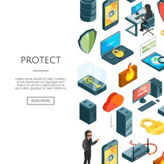 Vector isometric data and computer safety icons background with place for text illustration. Web banner for computer company