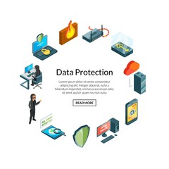 Vector isometric data and computer safety icons in circle shape with place for text illustration