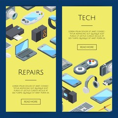 Vector isometric gadgets icons web banner and poster page templates illustration