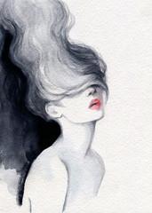 Photo sur Toile Portrait Aquarelle beautiful woman. fashion illustration. watercolor painting