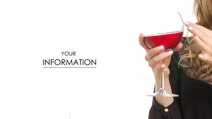 Female hand holding a glass of red wine on a white background isolation