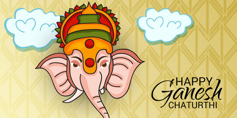 illustration of a Creative Card, Poster or Banner for Festival of Ganesh Chaturthi Celebration.