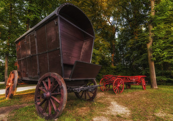 Two Chuck Wagons in the Garden of Wilanow Park