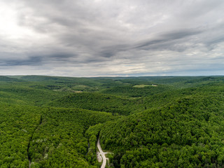PA Rt 381 Ohiopyle with Trees and Clouds