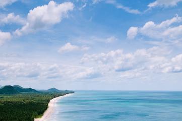 Bang Saphan beach from high angle view, Prachuap Khiri Khan, Thailand
