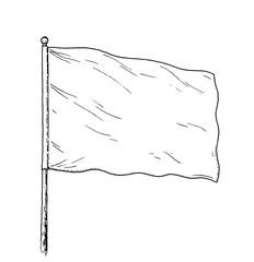 Blank flag drawing - vintage like illustration of white, neutral flag. Contour on white background.