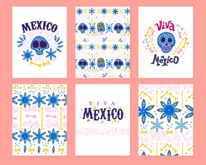 Vector collection of cards with traditional decoration for Mexico day dead party. Dia de los muertos decor in flat hand drawn style. Text congratulation, skull, floral elements, petals, bones, pattern