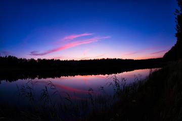 Kaszuby jezioro nocą zachód wschód słońca
