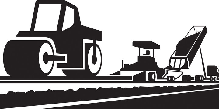 Laying an asphalt pavement on a road - vector illustration