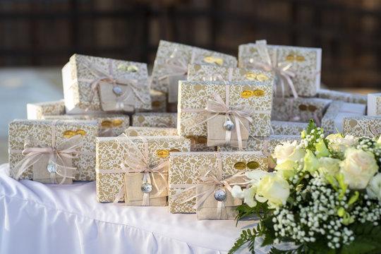 wedding, present, gift, detail, party, bomboniera, bomboniere, ceremony, baptism, italian, favors, restaurant, food, glass, festive, ribbon, background, guest, rose, sweet, indoor, confetti, closeup,