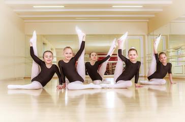 happy group child dancers