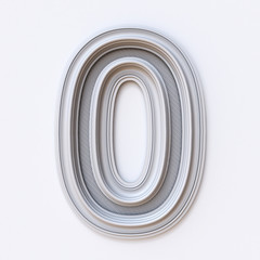 White picture frame font Number 0 ZERO 3D