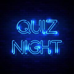 Quiz Night neon sign on the brick wall. Vector Illustration