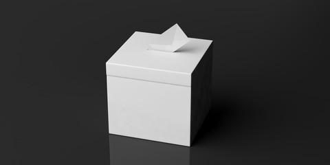 White blank ballot box and envelope on black background, copy space. 3d illustration