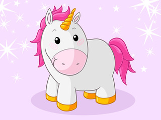 Pinkes glückliches Comic Einhorn