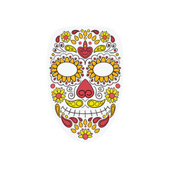 Colorful Skull Mask Day of The Dead With Floral Ornament and Flower Seamless Pattern. Dia de Los Muertos, Colorful Holiday Skul